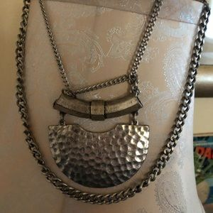Silver two-layered chain necklace